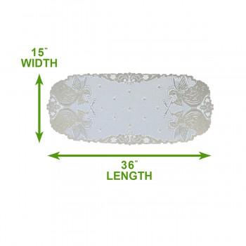 "spec-<PRE>Table Cloth Angel Ecru Polyester 36""L x 15""W </PRE>"