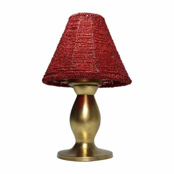<PRE>Candle Lamp Red Brass Beaded Shade 9&quot;H </PRE>