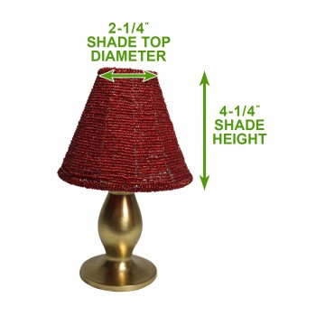 spec-<PRE>Candle Lamp Red Brass Beaded Shade 9&quot;H </PRE>