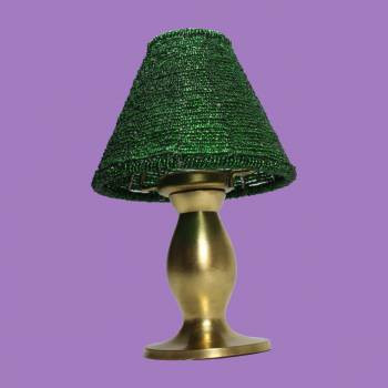 <PRE>Candle Lamps Green Brass Candle Beaded Shade 9inchH </PRE>zoom2