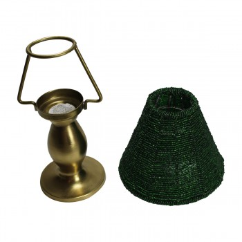 <PRE>Candle Lamps Green Brass Candle Beaded Shade 9inchH </PRE>zoom3