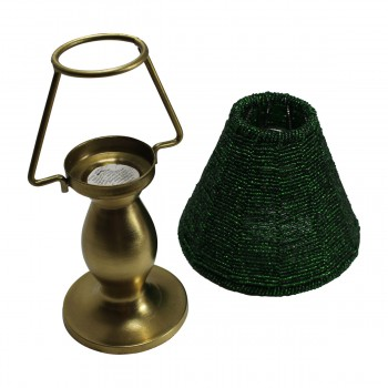 <PRE>Candle Lamps Green Brass Candle Beaded Shade 9inchH </PRE>zoom4