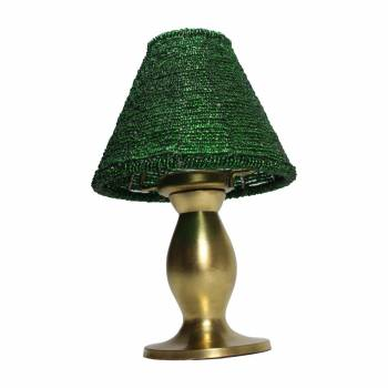 <PRE>Candle Lamps Green Brass Candle Beaded Shade 9inchH </PRE>zoom1