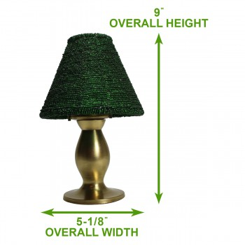 spec-<PRE>Candle Lamps Green Brass Candle Beaded Shade 9&quot;H </PRE>