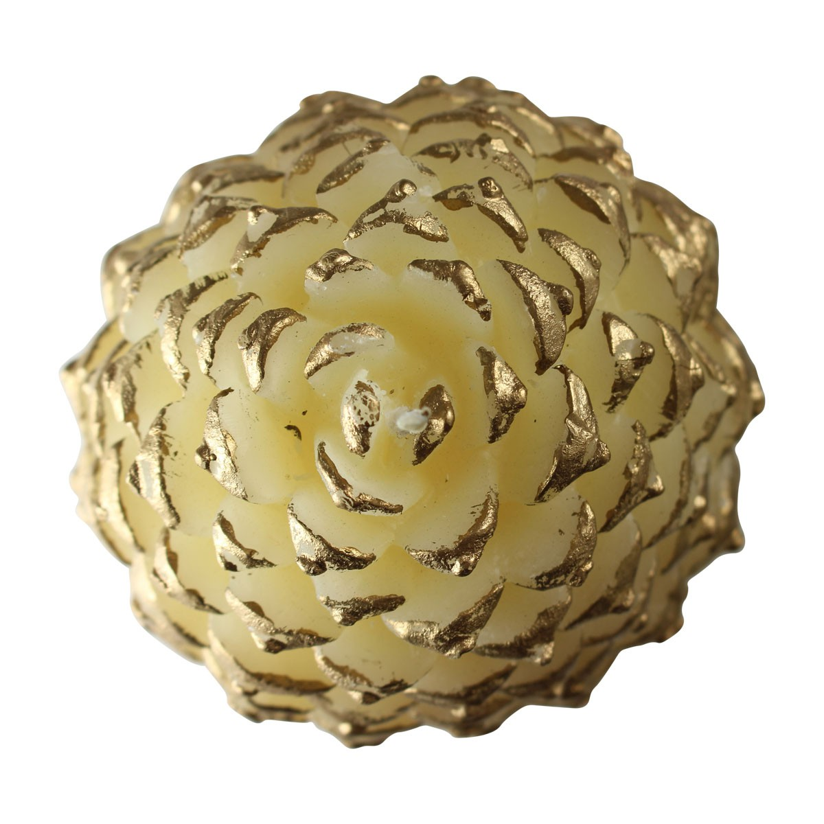 Candles White w Gold Wax Pinecone Candle 5H Candle Candles Decorative Candle
