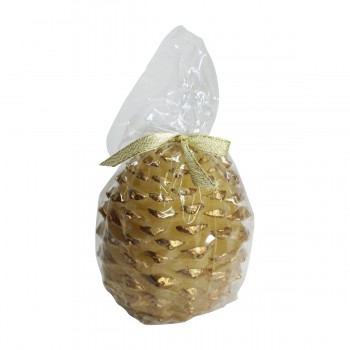 <PRE>Candles White w/ Gold Wax Pinecone Candle 5inchH </PRE>zoom3
