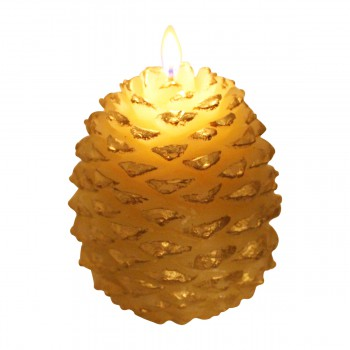 <PRE>Candles White w/ Gold Wax Pinecone Candle 5inchH </PRE>zoom4