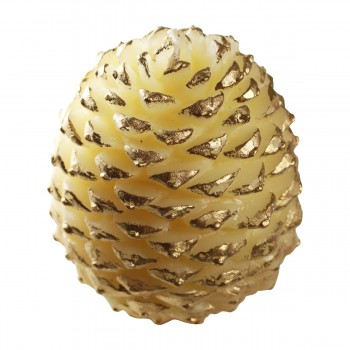 <PRE>Candles White w/ Gold Wax Pinecone Candle 5inchH </PRE>zoom6