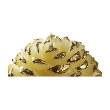 <PRE>Candles White w/ Gold Wax Pinecone Candle 5inchH </PRE>zoom7