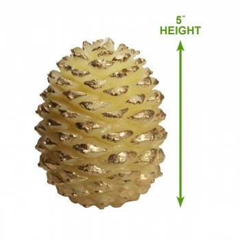 "spec-<PRE>Candles White w/ Gold Wax Pinecone Candle 5""H </PRE>"