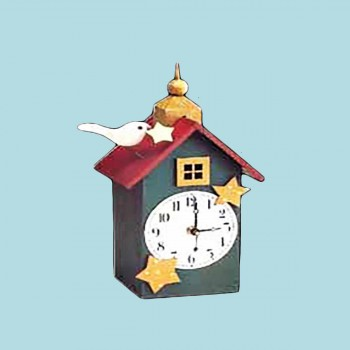 Clocks Green Wood Clock with Bird 11.5H Clocks Decorative Clock Decorative Clocks