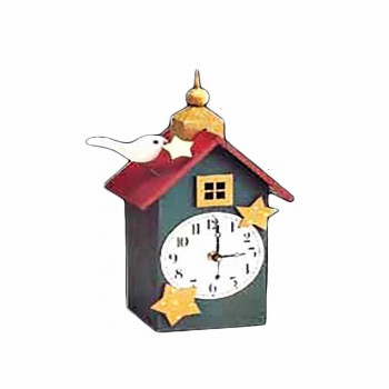 Clocks Green Wood Clock with Bird 11.5