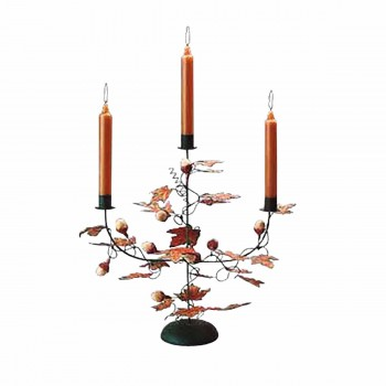Candle holder Black Wrought Iron Leaf and Acorn Holder 64696grid