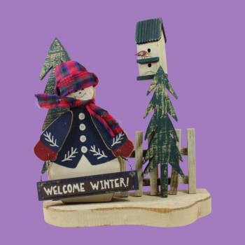 <PRE>Sings Wood Decorative Sign w/ Snowman 10 1/2inchH </PRE>zoom2