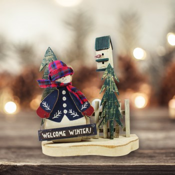 Sings Wood Decorative Sign w/ Snowman 10 1/2