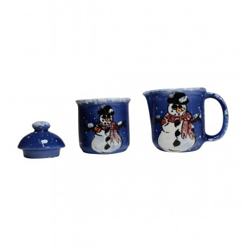 <PRE>Creamer and Sugar Set Snowman Blue Ceramic Debra Kelly </PRE>zoom3