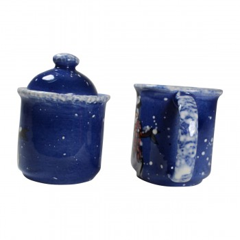 <PRE>Creamer and Sugar Set Snowman Blue Ceramic Debra Kelly </PRE>zoom5