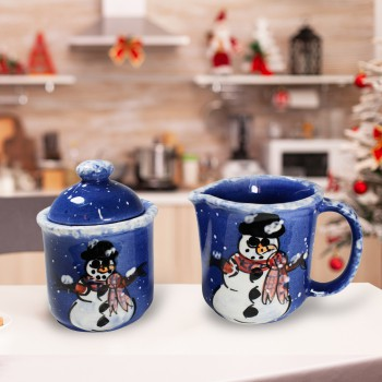 Creamer and Sugar Set Snowman Blue Ceramic Debra Kelly 64709grid