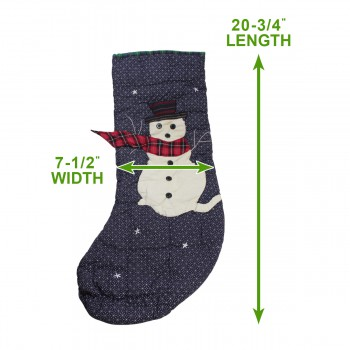 spec-<PRE>Christmas Stockings Blue/Green Cotton 20 3/4&quot;H x 7 1/2&quot;W </PRE>