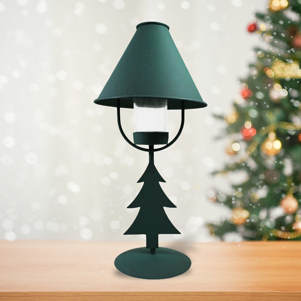 Metal Tabletop Christmas Tree: Christmas Tree Table Lamp Antique Green Metal