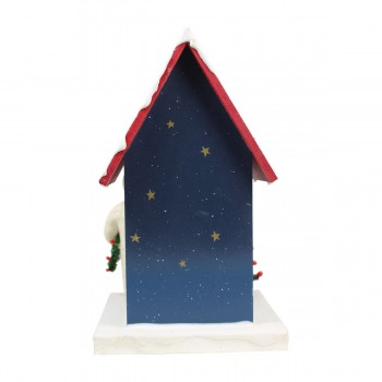 <PRE>Birdhouse Blue Wooden 9inchH x 5 1/2&quot;W </PRE>zoom6