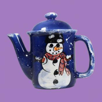 <PRE>Coffee Pot Blue Ceramic Snowman </PRE>zoom2