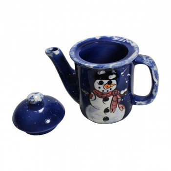 <PRE>Coffee Pot Blue Ceramic Snowman </PRE>zoom3