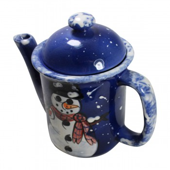 <PRE>Coffee Pot Blue Ceramic Snowman </PRE>zoom4