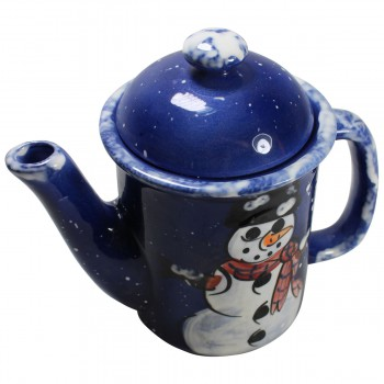 <PRE>Coffee Pot Blue Ceramic Snowman </PRE>zoom5