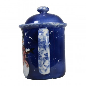 <PRE>Coffee Pot Blue Ceramic Snowman </PRE>zoom6