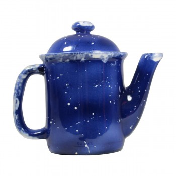 <PRE>Coffee Pot Blue Ceramic Snowman </PRE>zoom7