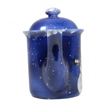 <PRE>Coffee Pot Blue Ceramic Snowman </PRE>zoom8