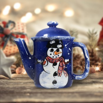 Coffee Pot Blue Ceramic Snowman 64743grid