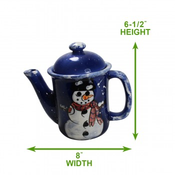 spec-<PRE>Coffee Pot Blue Ceramic Snowman </PRE>