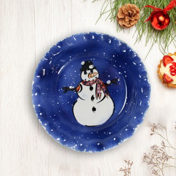 Pie Plate Snowman Blue Ceramic Plate Debra Kelly 64744grid