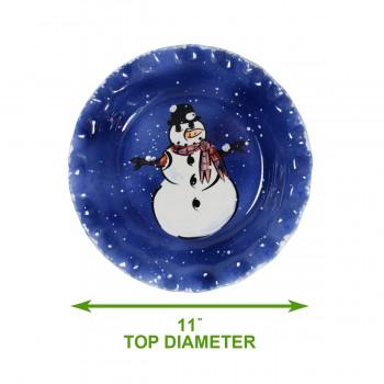 spec-<PRE>Pie Plate Snowman Blue Ceramic Plate Debra Kelly </PRE>