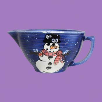 Mixing Bowl Snowman Blue Ceramic Debra Kelly Mixing Bowl Mixing Bowls Christmas Mixing Bowl