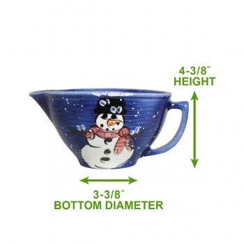 spec-<PRE>Mixing Bowl Snowman Blue Ceramic Debra Kelly </PRE>