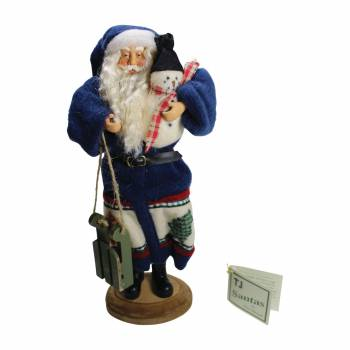 Santa Sled Blue Wooden Sled 16