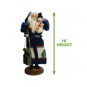 spec-<PRE>Santa Sled Blue Wooden Sled 16&quot;H </PRE>