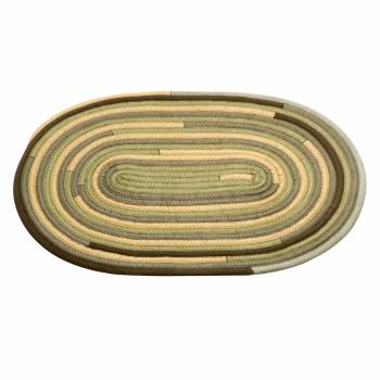 Oval Area Rug 3' x 2' Yellow Wool 64751grid