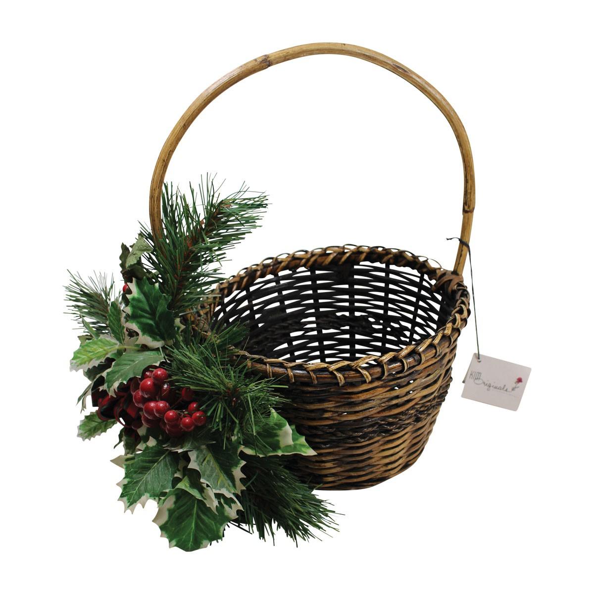 Decorative Basket Brown Wicker 16 H