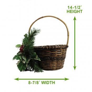"spec-<PRE>Decorative Basket Brown Wicker 16""H </PRE>"
