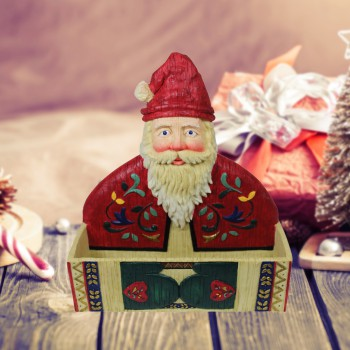 Greeting Card Holder Santa Holiday Red/White Holder 64766grid