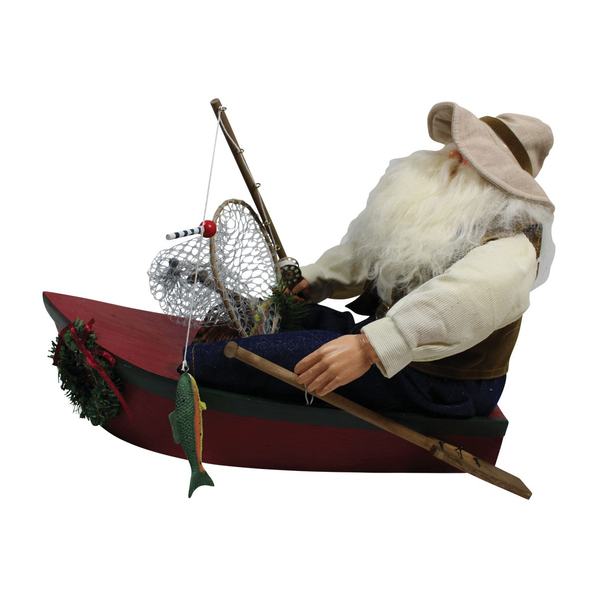 Santa Fishing Centerpiece Resin Decorative 11H Santa Decor Christmas Decor Christmas Decorations