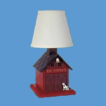 "spec-<PRE>Table Lamp Red Wood FIrehouse Lamp 16""H </PRE>"