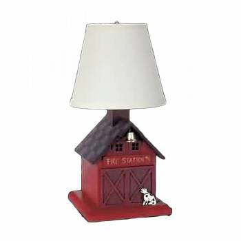 Table Lamp Red Wood FIrehouse Lamp 16H Lamp Table Lights Lamps