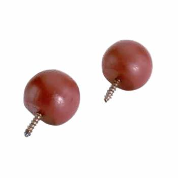 <PRE>Pair Curtain Rod Finials Raleigh Red Pine Ball 3/4inchD </PRE>zoom1
