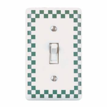 Porcelain Switch Plate White/Green Checkered  Single Toggle 65053grid