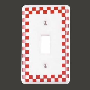 <PRE>Switch Plate Red Porcelain Checkered Single Toggle </PRE>zoom2